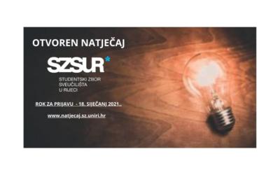 Otvoren Natječaj SZSUR za financiranje studentskih programa u 2021.